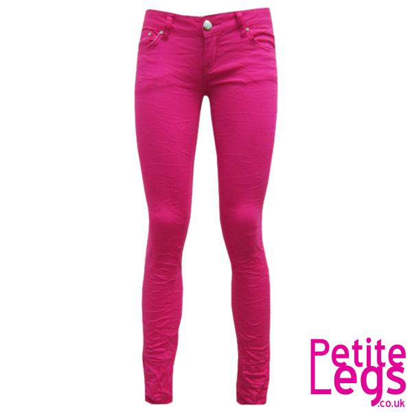 Avril Crinkle Skinny Jeans In Hot Pink Uk Size 10 Petite Leg Inseam Select 24 30 Inches