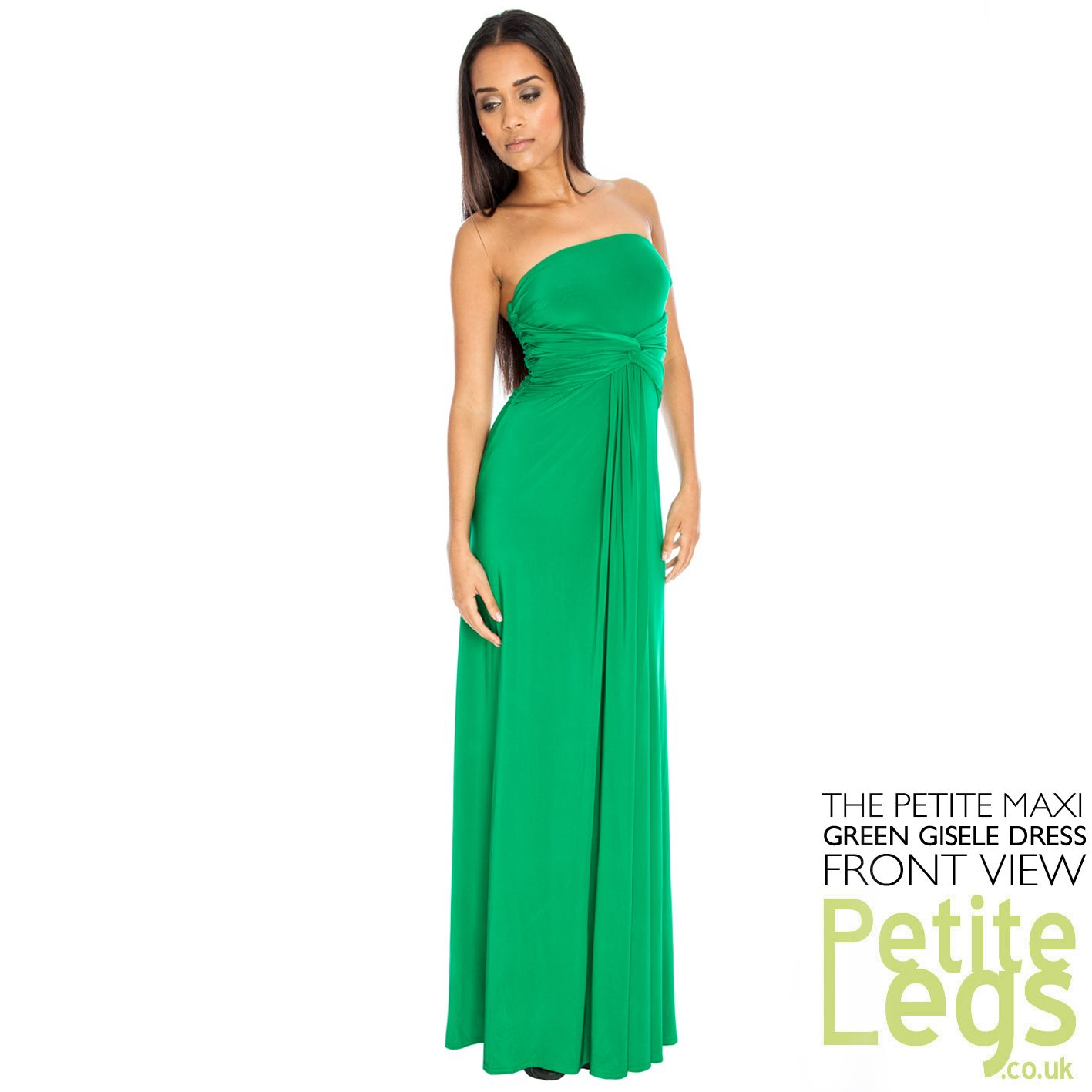 60cf20b0329 Gisele Bandeau Strapless Petite Height Maxi Dress in Green UK Sizes ...