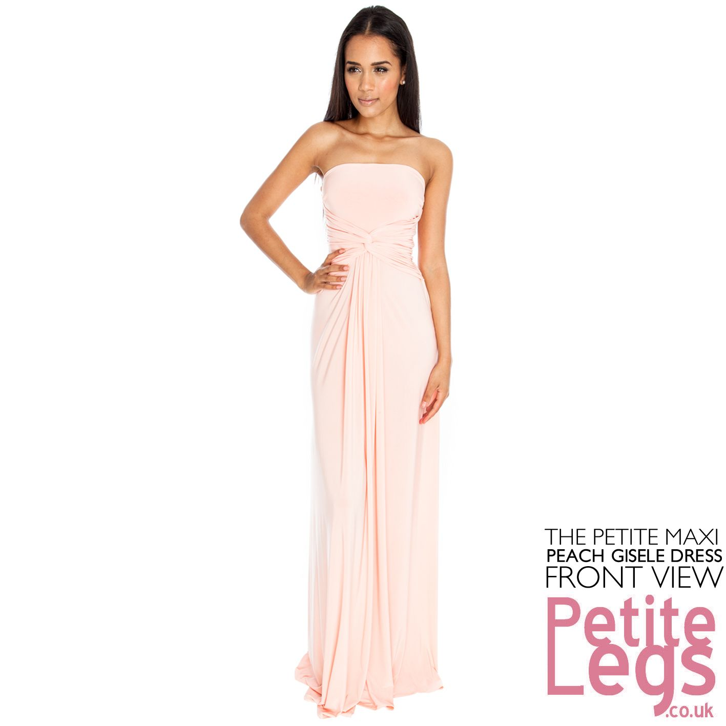 Gisele Bandeau Strapless Petite Height Maxi Dress In Peach Uk Size