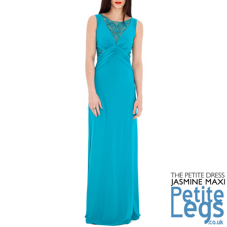 69124c2a77 Jasmine Maxi Dress in Turquoise with Openwork Crochet Lace and Sequin  Detail UK Sizes 8-14 Petite Height Select 4ft7 - 5ft5
