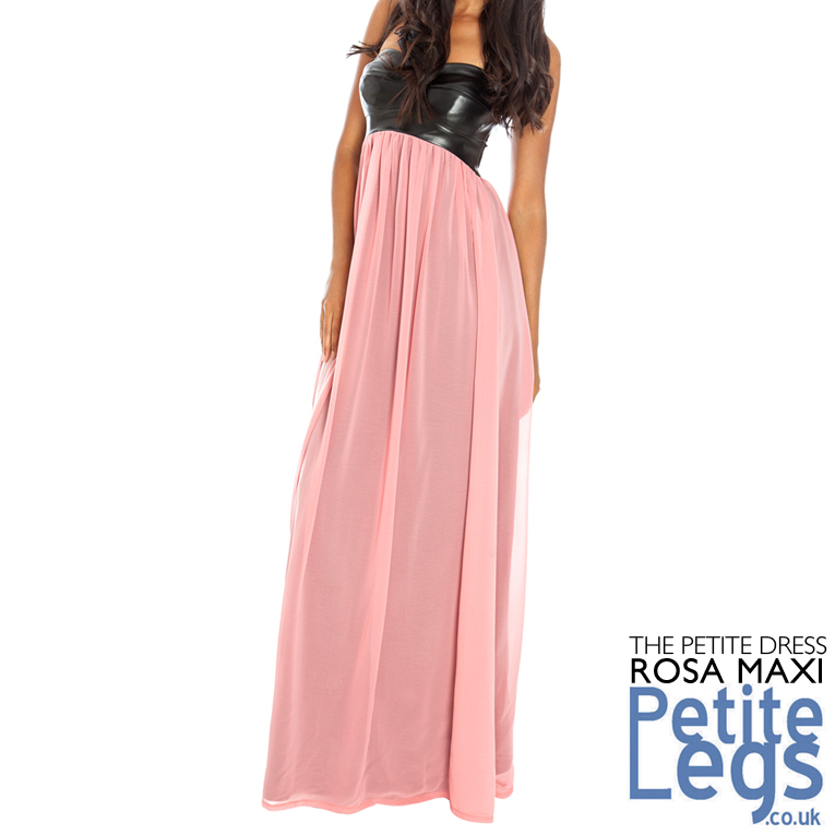 4bc2bccd49 Rosa Leatherette Bandeau Maxi Dress with Dusky Pink Lined Chiffon Skirt UK  Sizes 8-14 Petite Height Select 4ft7 - 5ft5